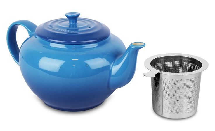 Le Creuset Stoneware Large Teapot with Stainless Steel Infuser 1-quart Marseille