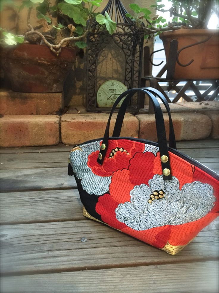 Obi / Kimono / Bag / BK780 Gorgeous Flower Embroidery Obi Mini Bag With Leather Handles by RummyHandmade on Etsy