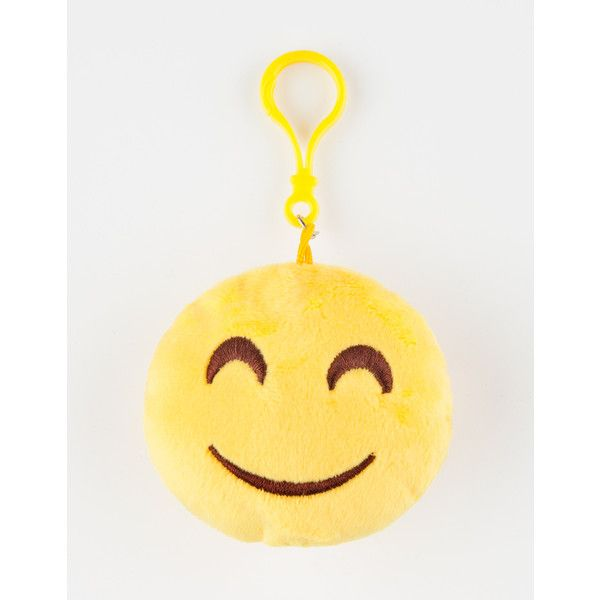Plush Emoji Happy Face Keychain Bag Charm ($1.99) ❤ liked on Polyvore featuring accessories, fob key chain and plastic key chains