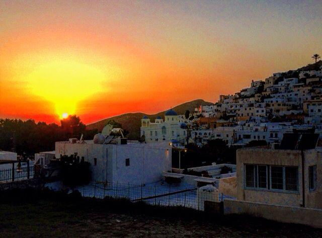 sunset in Ios island, Greece
