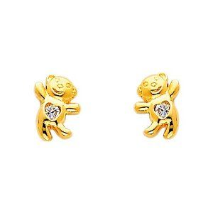 14K Yellow Gold Plated Bear CZ Stud Earrings with Screw-back for Children & Women The World Jewelry Center. $9.95. Promptly Packaged with Free Gift Box and Gift Bag. Screw Back