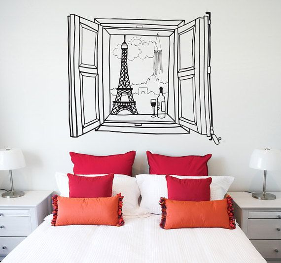 Paris window by ChispumWallArt on Etsy