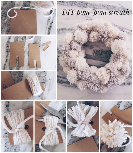 DIY winter pompom wreath - Twineandtable