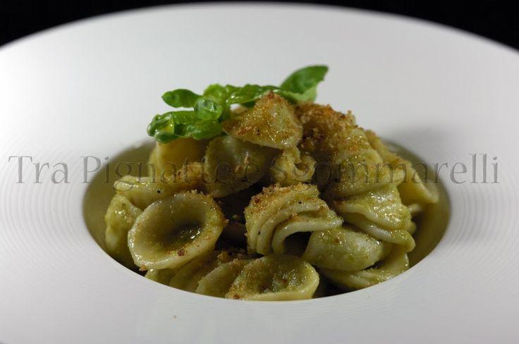 Le mie ricette - Orecchiette con coda di rospo, crema di piselli e pangrattato all'aglio