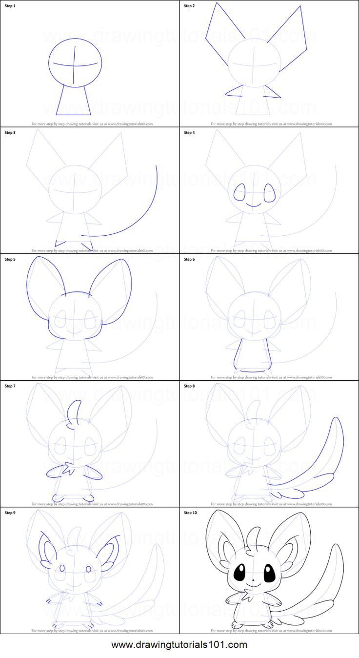 How to Draw Minccino from Pokemon printable step by step drawing sheet : DrawingTutorials101.com