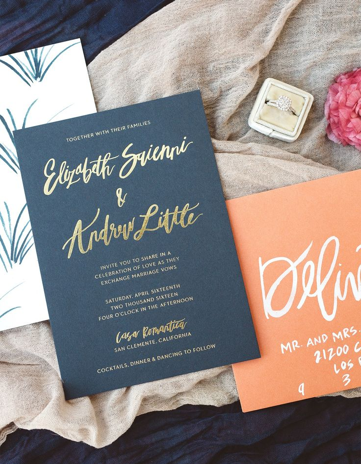Brush Lettered Gold and Navy Wedding Invitations