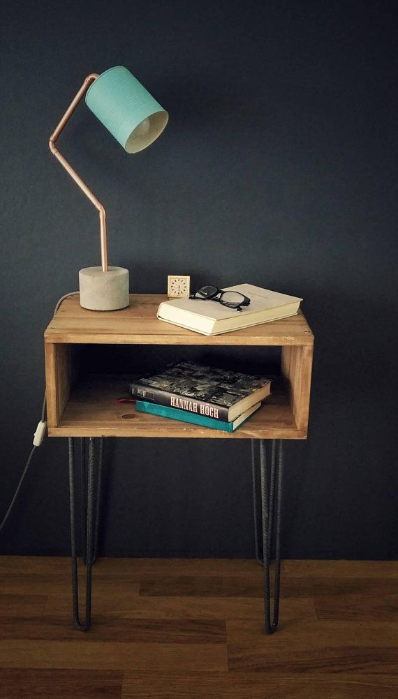 Industriel Lampe De Chevet Lampe De Bureau Bleu Beton Cuivre Reclaimed Wood Nightstand Industrial Desk Lamp End Tables