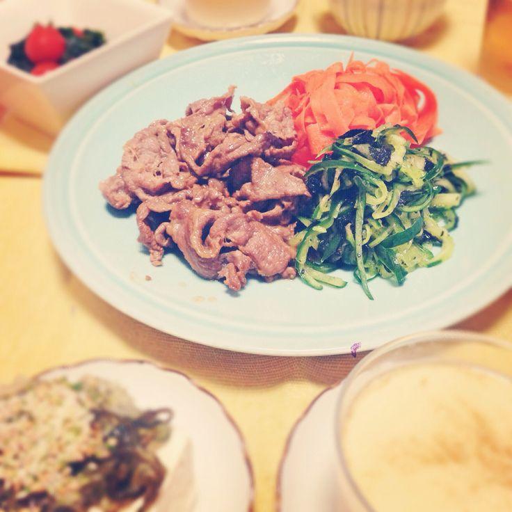 Lowcarb dinner  牛肉の炒め物 ナムル 茶碗蒸し  今回の茶碗蒸しは、過去最高の出来(笑)