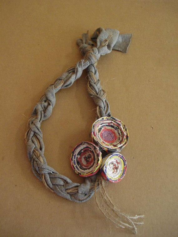 Grey fabric braid necklace with upcycled paper by art2artshop