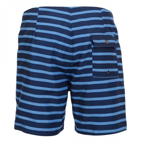 MID-LENGTH STRIPED NYLON BOARDSHORTS Schulze Stripe nylon Boardshorts in a colored striped pattern, fixed waist with drawstring and Velcro fly, a back pocket with snap button, interior lining, Saturdays Surf NYC label sewn on the bottom. COMPOSITION: 100% NYLON. Our model wears size 32, he is 189 cm tall and weighs 86 Kg.