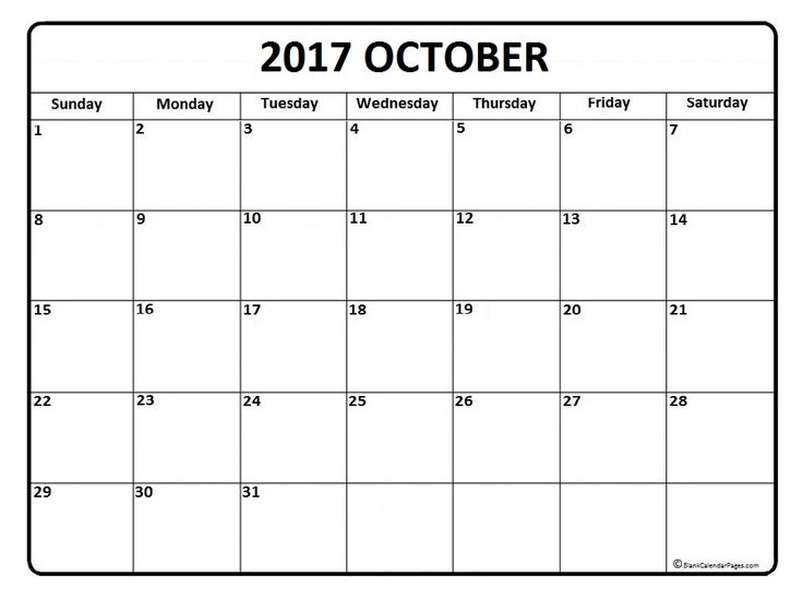 21 best October 2017 Calendar images on Pinterest | Printable ...