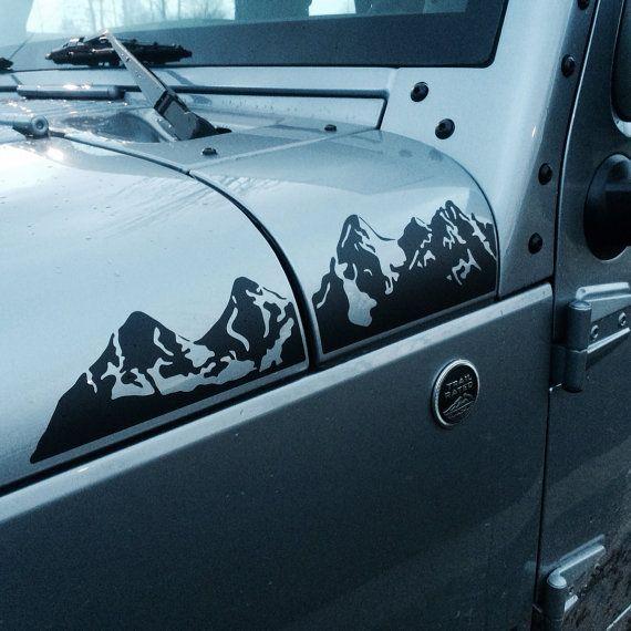 Jeep Wrangler JK Extended Hood Mountains Decal Set