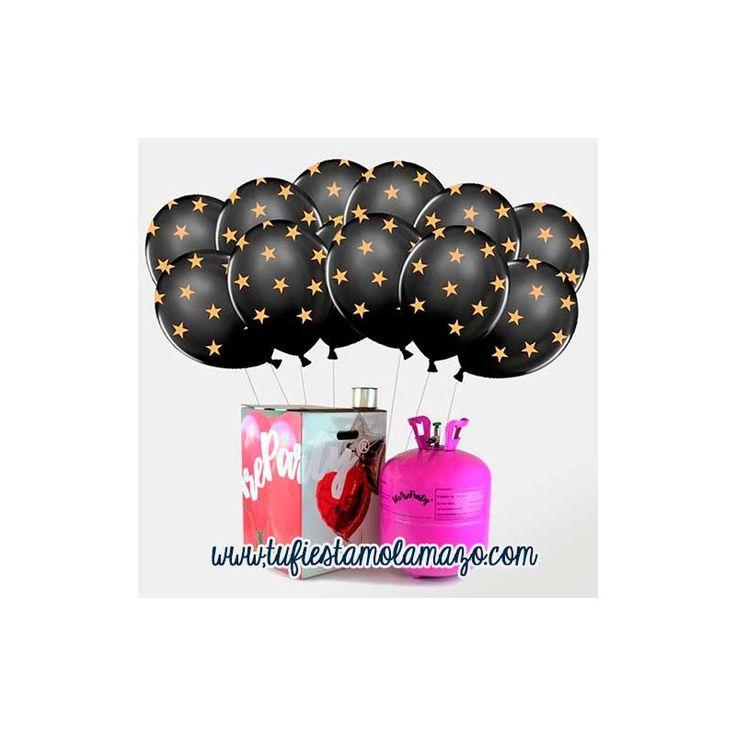 Pack helio con globos negros con estrellas www.tufiestamolamazo.com