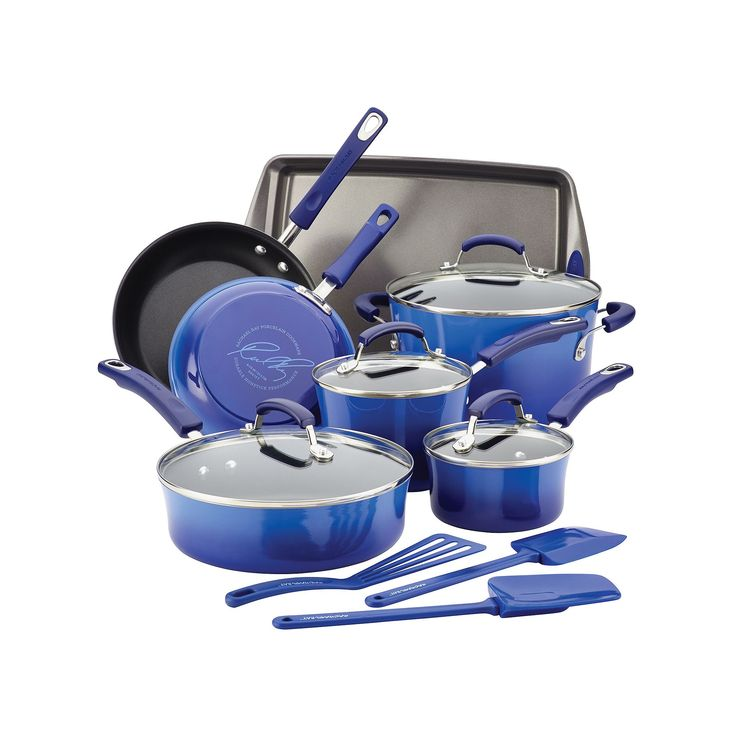 Rachael Ray Brights 14-pc. Nonstick Cookware Set, Blue
