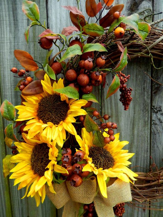 Summer Wreath Spring Wreath Sunflower Wreath by forevermore1, $89.00