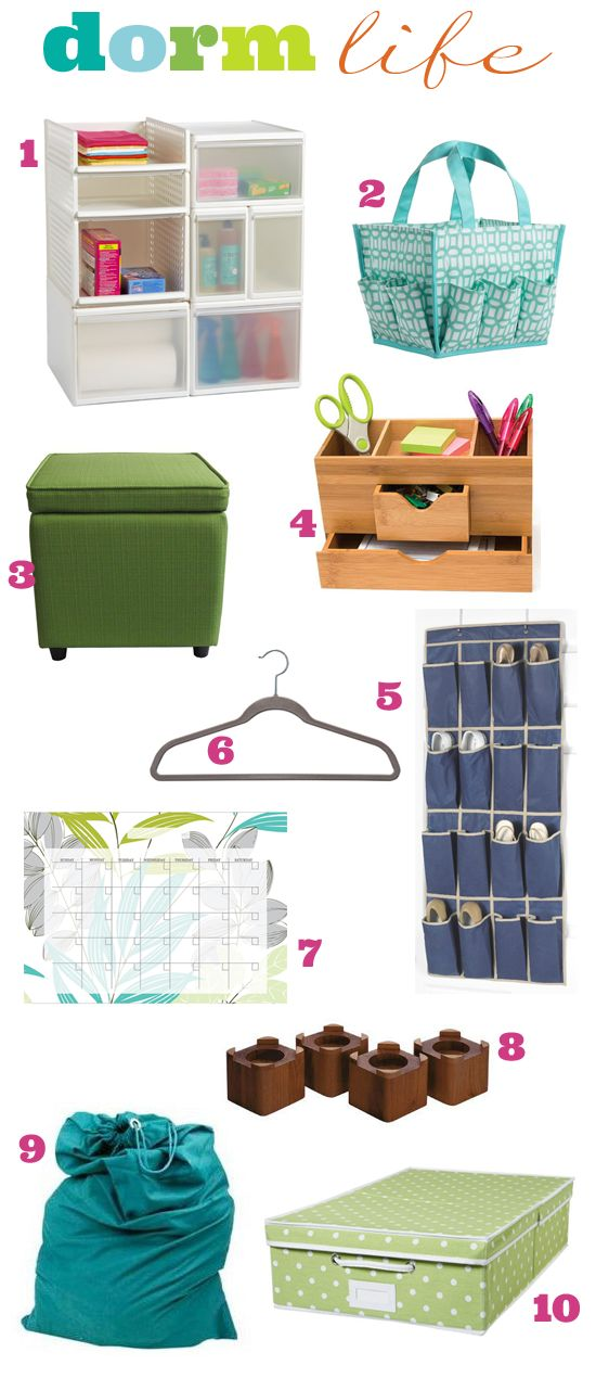 Some useful ideas on storage etc. for your dorm room.