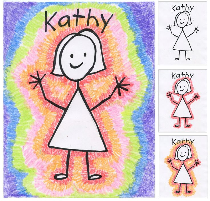 Back to School Portraits. Stick figures outlined in crayon. Art Projects for Kids