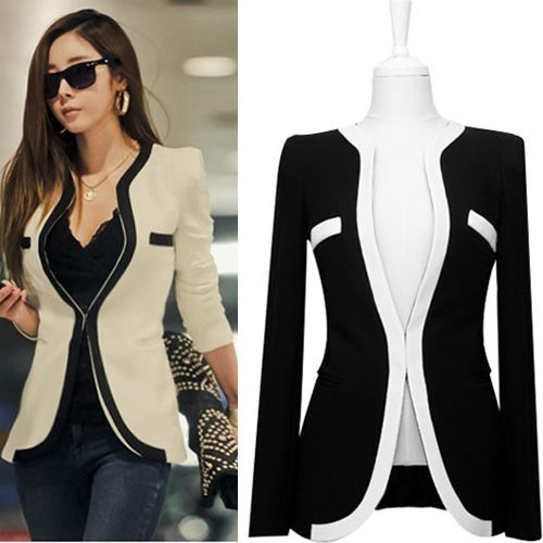 Free Shipping 2013 S M L XL Plus size autumn black and white patchwork women blazer slim suit blazer-inBlazer & Suits from Apparel & Accesso...