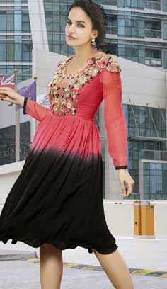 Beautiful Latest Pink Faux Georgette Kurti