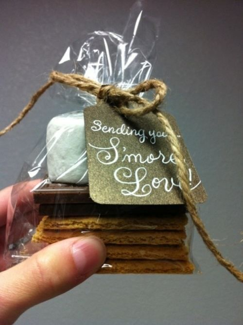 Have s'mores at the wedding but also send a piece of it home as a favor to remember and enjoy later!