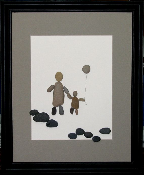 Pebble Art Walking Together Parent and Child by PumpkinandParsnip, $165.00