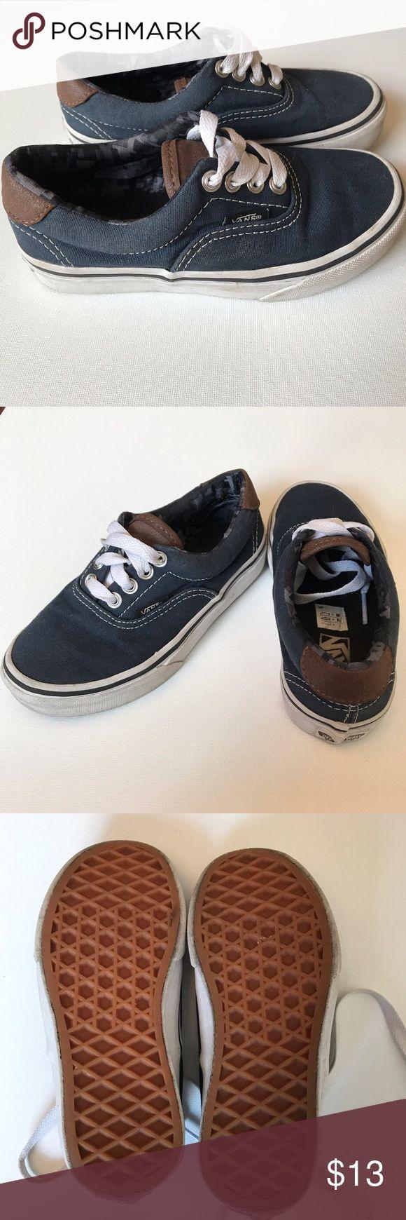 Navy Vans Used Navy Vans sneaker w/ brown leather tongue and detail on heel. Wear shown in pictures. Vans Shoes Sneakers