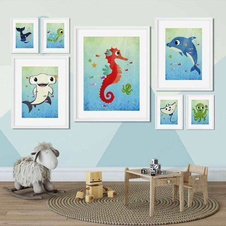 Dolphin Art Print Dolphin Nursery Wall Art Dolphin Kids Wall