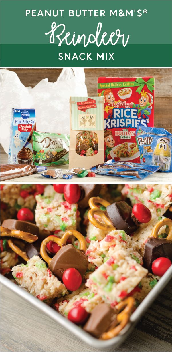 Rice Krispies Reindeer Snack Mix made with M&M'S® Peanut Butter Brrr-ittle candies, DOVE® PROMISES® Sea Salt Caramel & Dark Chocolate Holiday Tree-ts, Holiday Rice Krispies® cereal, and Pillsbury™ Filled Pastry Bag Chocolate Fudge Flavored Frosting + Free Printable = one tasty edible gift idea! Whether you're looking for presents for teachers, neighbors, co-workers or all of the above, by grabbing all the ingredients you need for this fun recipe at Target is a great place to get started!