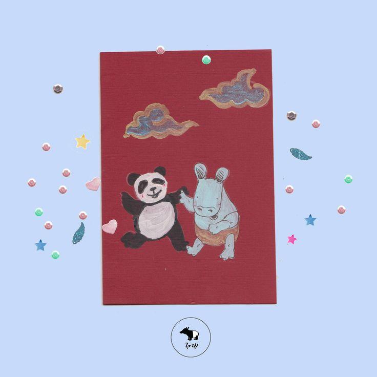 Riang bertemu sang Panda di negeri Timur jauh! <3   Hore, hore! Mereka sama-sama lucu dan gembul!   #guyu #kartusayang #greetingcard