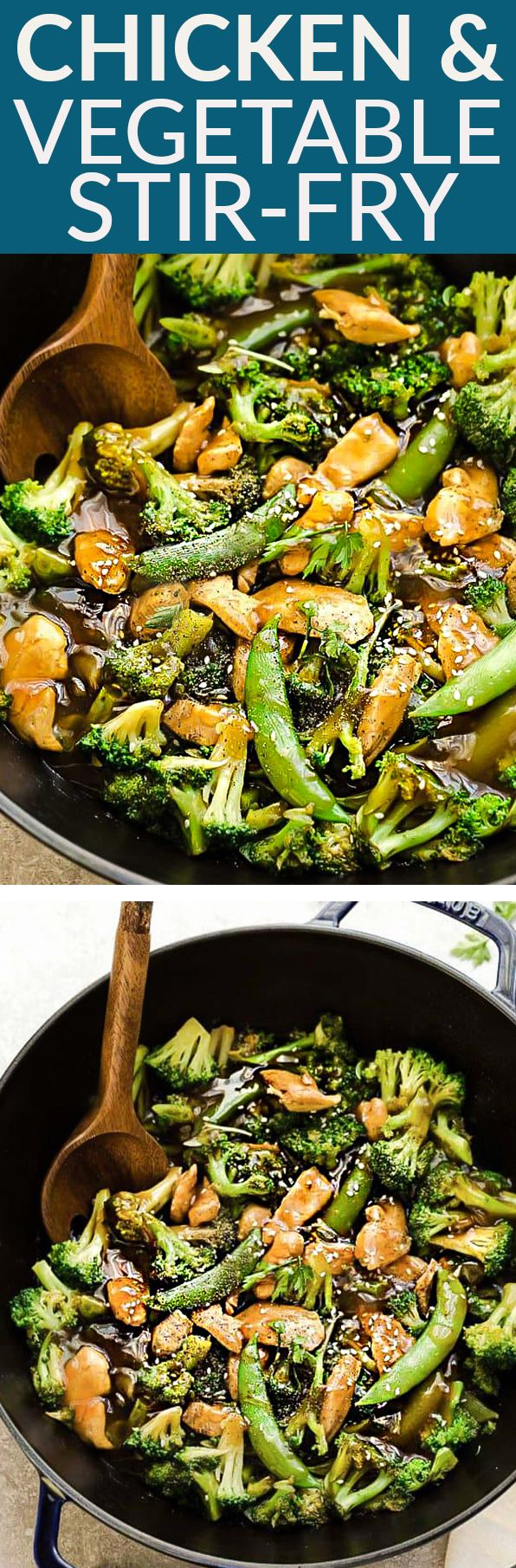 Chicken Stir Fry with Broccoli Snap Peas is the perfect easy weeknight meal. Best of all, this recipe comes together in under 30 minutes with your favorite vegetables and sticky and savory Asian sauce. Great for Sunday meal prep for work or school lunchboxes or lunch bowls. Full of flavor and way better than takeout! #STIRFRY #FAKEOUTTAKEOUT #BROCCOLI #CHICKEN #RECIPE #DINNER #HEALTHY