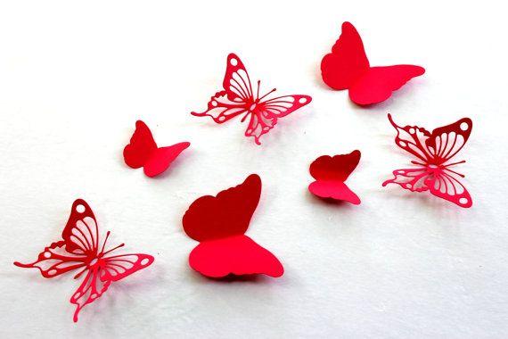Red Butterfly wall art, Paper butterflies, 3d Wall Arts, Baby shower, Wedding, 3D Butterflies, Wall decal, Art, Home decor