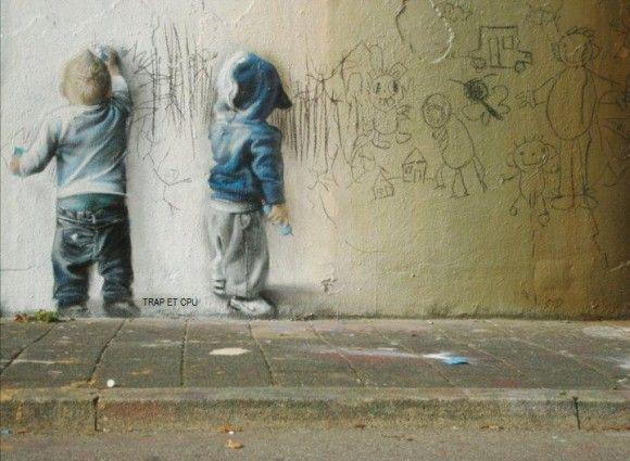 Genius Street Art: Children Plays, Street Artists, Street Art Utopia, Streetartutopia, Baby Art, Art Kids, Little Boys, Codex Inferno, Graffiti Artists