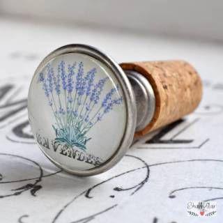 Flaschenverschluss von Shabbyflair mit Lavendel Vintage Motiv