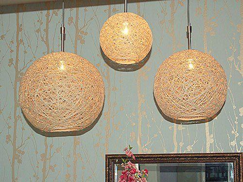 Utilizando el yute utilizando yute lamparas hechas for Decoracion de casas hechas a mano