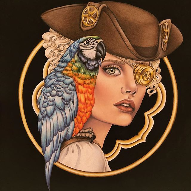 Polly S Pirate Girl Circle Portraits Coloring Book Artist Laura Rafferty Colored By Ida Ida Mn Coloring Books Colored Pencil Artwork Portrait