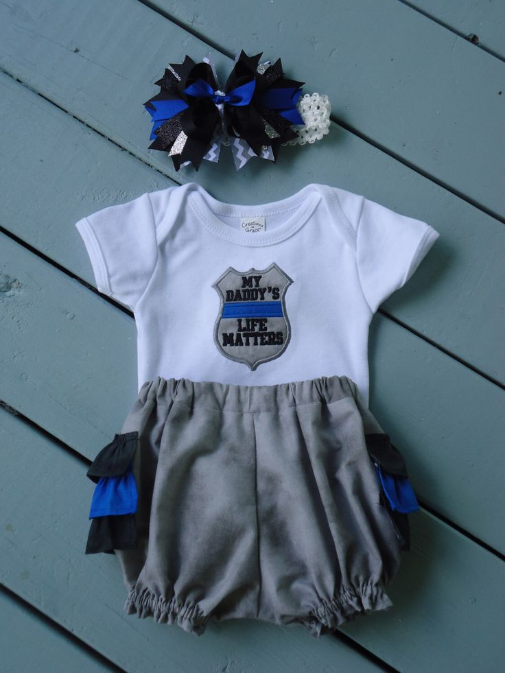 Thin Blue Line, Police Baby, Baby Girl Outfit, Ruffle Diaper Cover, Thin Blue Line Hairbow, My Family's Life Matters, Unlce, Mommy, Daddy, by Marshaslilcraftpatch on Etsy https://www.etsy.com/listing/289004555/thin-blue-line-police-baby-baby-girl
