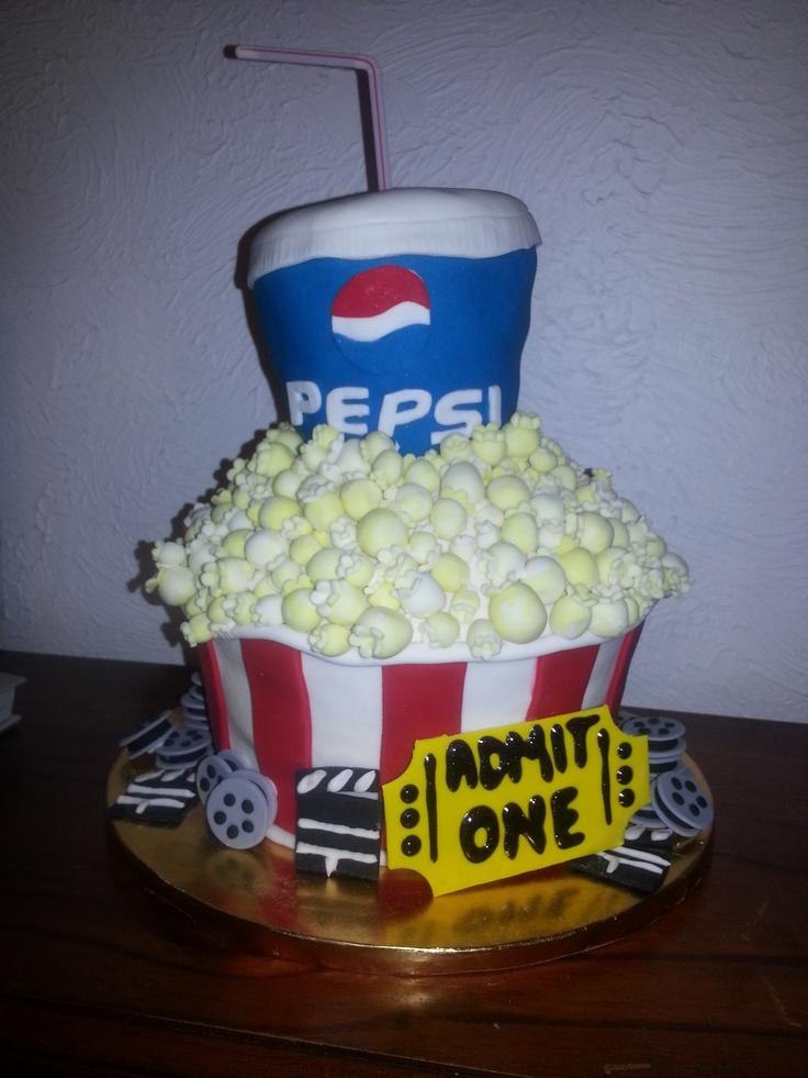 popcorn and pepsi vanilla cake with white chocolate buttercream