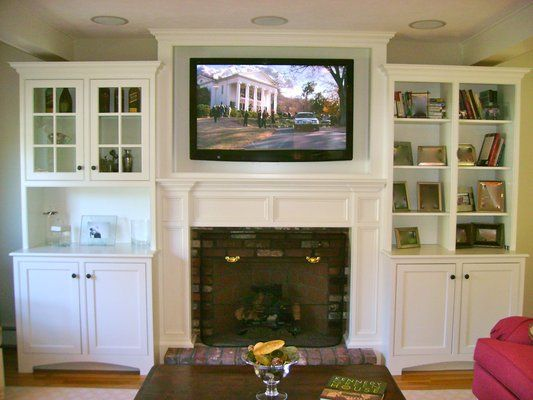 tv over fireplace ideas | TV mounted above fireplace in custom cabinet with In-ceiling speakers ...