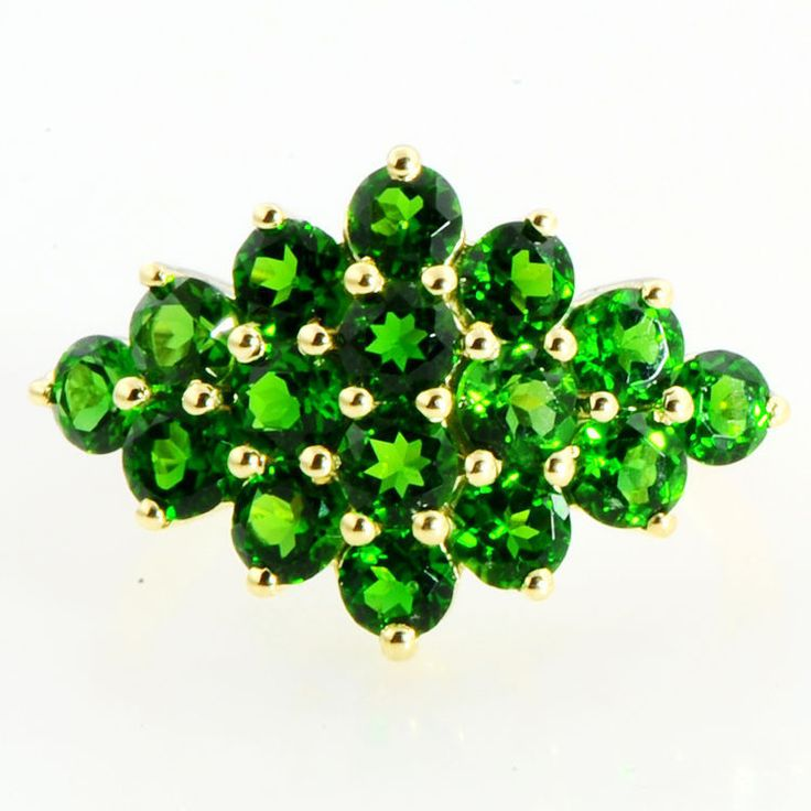 CHROME DIOPSIDE 2.60 CARAT NATURAL GEMSTONE  RING IN 10 KT SOLID YELLOW GOLD