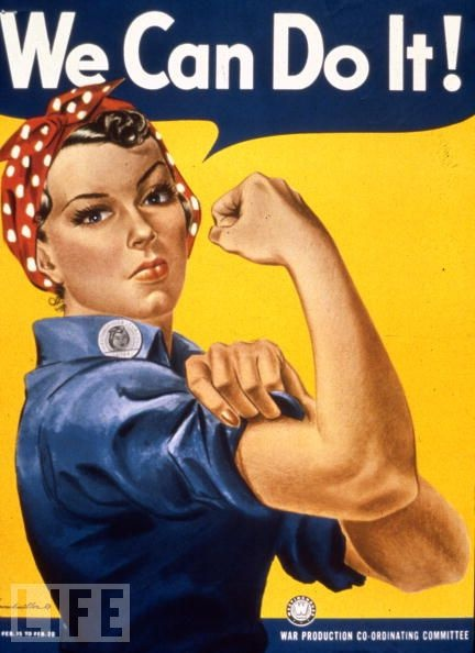 The women of America are urged get to work on the homefront in one the most famous posters -- of any sort -- ever printed.