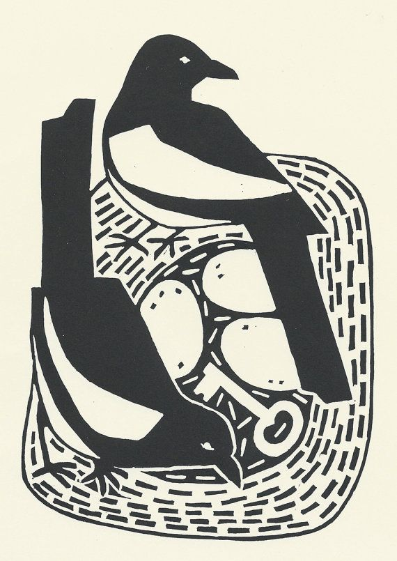 ✽   ruth broadway   -  'two for joy'   - magpies lino print