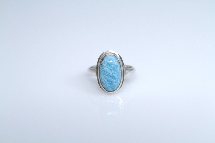 Larimar Ring, Larimar Jewelry from Dominican Republic, US Size 7.5 by TheLarimarShop on Etsy