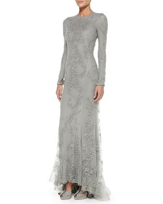 Long-Sleeve Beaded Evening Gown by Ralph Lauren Collection at Bergdorf Goodman. Video:  http://www.bergdorfgoodman.com/Ralph-Lauren-Collection-Long-Sleeve-Beaded-Evening-Gown-Collection/prod102180044_cat299809__/p.prod?icid=&searchType=EndecaDrivenCat&rte=%252Fcategory.jsp%253FitemId%253Dcat299809%2526pageSize%253D120%2526No%253D0%2526refinements%253D&eItemId=prod102180044&cmCat=product