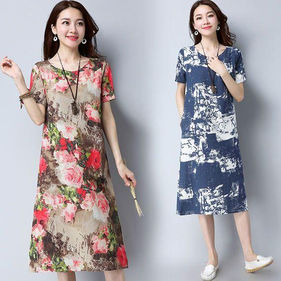 긴 새틴 레트로 아트 대형 사이즈 느슨한 잉크 인쇄 아마 긴 스커트 여성 국가 바람 면화와 린넨 드레스