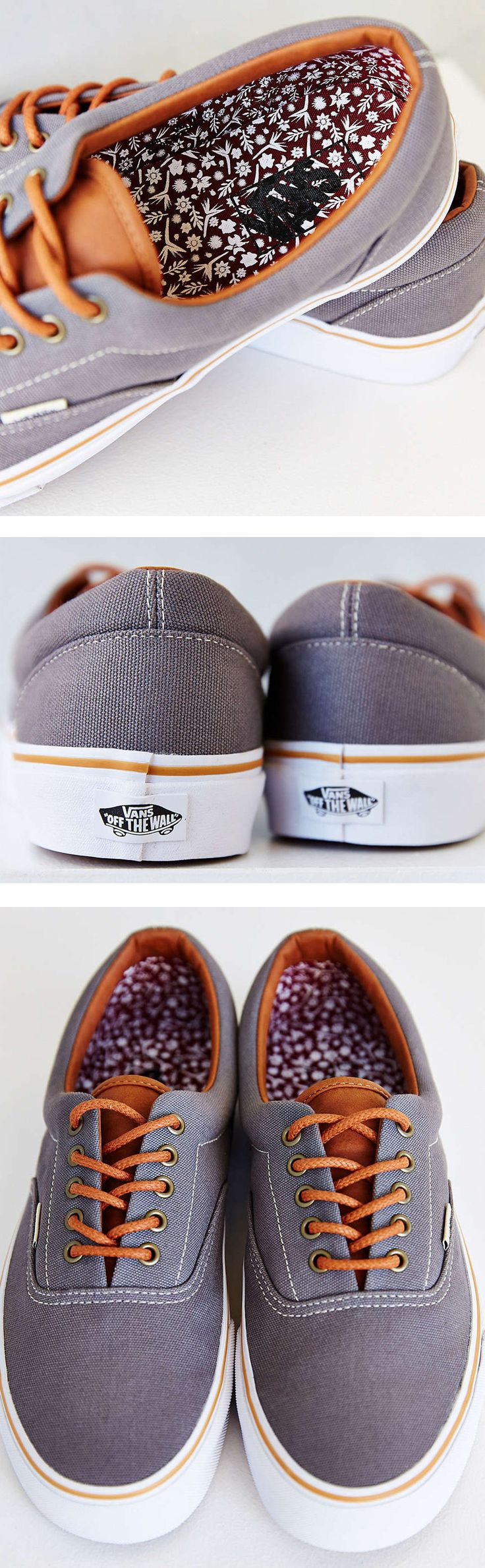 Vans Era Shoes // Work Floral Print Insoles // Grey - Smoked Pearl Canvas Sneakers