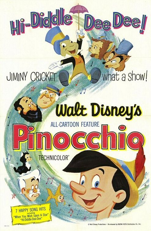 "PINOCCHIO [1940] Inventor Gepetto creates a wooden marionette called Pinocchio. His wish that Pinocchio be a real boy is unexpectedly granted by a fairy. The fairy assigns Jiminy Cricket to act as Pinocchio's ""conscience"" and keep him out of trouble. Jiminy is not too successful in this endeavor and most of the film is spent with Pinocchio deep in trouble."