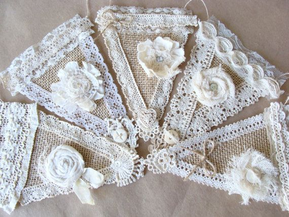 Burlap Lace Banner Bunting Garland Pennant Flags Shabby Chic
