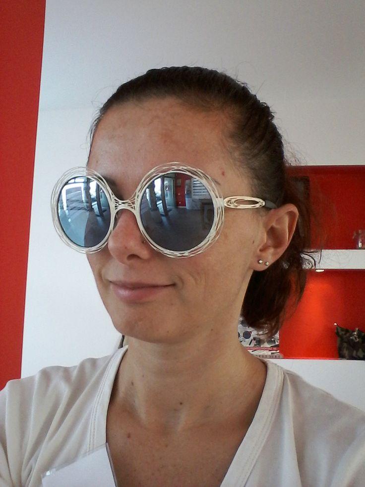 news Occhiale da sole con lente specchiata azzurra ,leggero collezione Filo di Ferro #mirror #sunglasses #filodiferro #treviso #veneto #handmade
