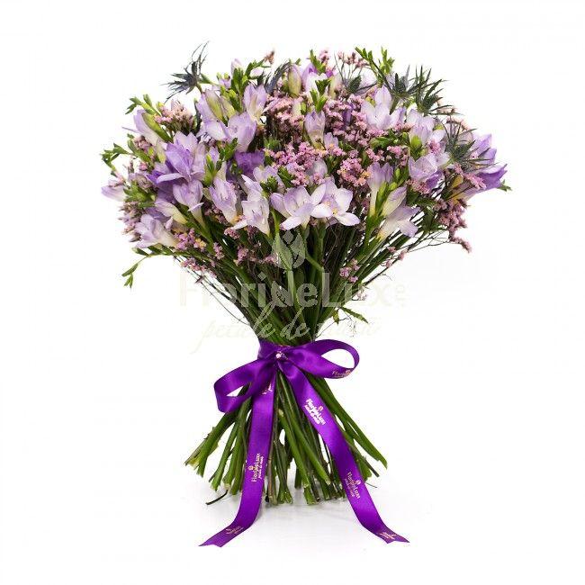 buchete de frezii, frezii mov, frezii lila, 31 frezii in buchet, livrare frezii