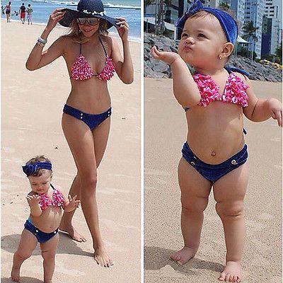 Children Baby Girl Swimwear Floral Bikini Swimsuit Bathing Suit Swimming Costume